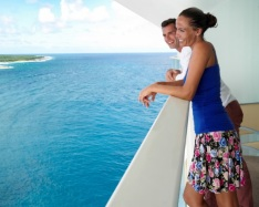 Cruiseship private balcony honeymoon couple