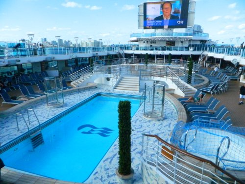 Lido Deck 16 with pools and the large screen for Movies Under the Stars
