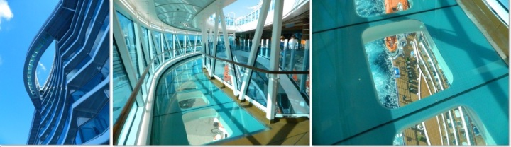 The SeaWalk as seen from below, at eye level on Deck 15, then looking DOWN at the sea!