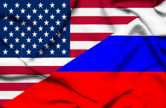 US Russia flags