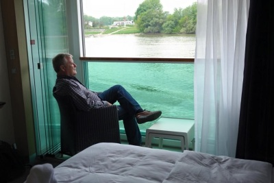 Bill Edwards enjoying the balcony on Scenic Jasper with Scenic Cruises