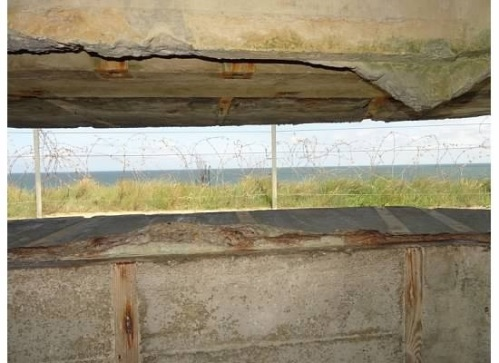 A view from inside the German bunkers, looking out to the toward the oncoming invasion area