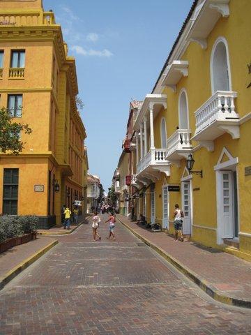 Narrow street in Cartagena, Columbia