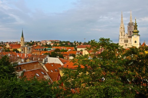 CE Share Susan B Croatia 07 Zagreb, looking from Upper Town back over Lower Town. Cathedral of the Assumption of the Blessed Virgin Mary with her twin spires.
